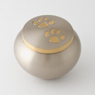 Odyssey double paw Pet Urn - Pewter/bronze with antique finish