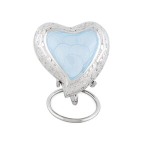 Ashes pale blue heart ashes keepsake