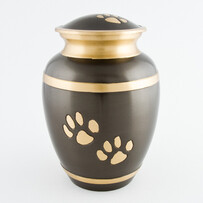 Ananta double paw pet urn slate/bronze with antique finish.